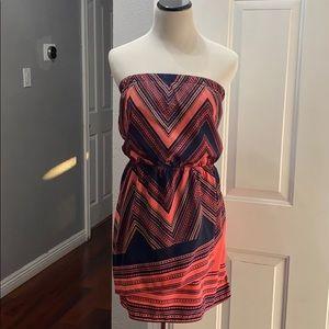 Express Navy & Coral print strapless dress